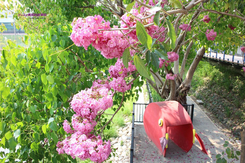 台南景點︱體育公園、竹溪水岸園區、水岸園區遊戲場、月見橋休閒好去處,還有浪漫洋紅風鈴木